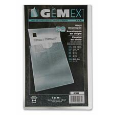 "Gemex Clear Vinyl Envelopes - 5"" x 8"" Sheet Size - Vinyl - Clear - 50 / Pack"