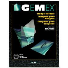 """Gemex Folded-style Name Badge Holder With Pin - 2.25"""" (57.15 mm) x 3.50"""" (88.90 mm) - 100 / Box - Clear"""