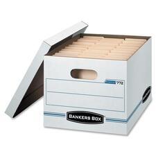 "Bankers Box Light Duty Storage/File Box - External Dimensions: 15"" Width x 12"" Depth x 10""Height - Media Size Supported: Letter, Legal - Lift-off Closure - Light Duty - Stackable - White - For File - Recycled - 1 Each"