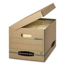 """Fellowes Flip-Top Attached Lid File Box - External Dimensions: 12"""" Width x 15"""" Depth x 10""""Height - Media Size Supported: Letter, Legal - Flip Top Closure - Medium Duty - Stackable - Kraft - Kraft - Recycled - 1 Each"""