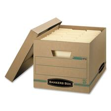 "Bankers Box Earth Storage Box - External Dimensions: 12"" Width x 15"" Depth x 10""Height - Media Size Supported: Letter, Legal - Lift-off Closure - Medium Duty - Stackable - Kraft - Kraft - For Document - Recycled - 1 Each"