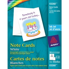 "Avery® Inkjet Print Note Card - 4 1/4"" x 5 1/2"" - Matte - 30 / Pack - White"