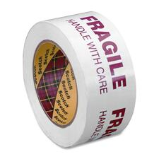 "Scotch 3772 Printed Message Box Sealing Tape - 1.89"" (48 mm) Width x 109.4 yd (100 m) Length - 3"" Core - Synthetic - 1.20 mil - Rubber Resin Backing - 1 Each - White"