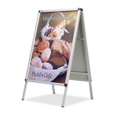 "Quartet Double-Sided A-Frame Display - 36"" (914.40 mm) Height x 24"" (609.60 mm) Width - Dual Sided Display, Weather Resistant - Silver Aluminum Frame - 1 Each"