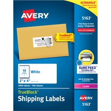 """Avery® TrueBlock(R) Shipping Labels, Sure Feed(TM) Technology, Permanent Adhesive, 2"""" x 4"""" , 1,000 Labels (5163) - 2"""" Height x 4"""" Width - Permanent Adhesive - Rectangle - Laser - White - Paper - 10 / Sheet - 100 Total Sheets - 1000 Total Label(s) - 1000 / Box"""