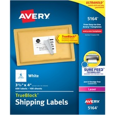 """Avery® TrueBlock(R) Shipping Labels, Sure Feed(TM) Technology, Permanent Adhesive, 3-1/3"""" x 4"""" , 600 Labels (5164) - 3 1/3"""" Height x 4"""" Width - Permanent Adhesive - Rectangle - Laser - Bright White - Paper - 6 / Sheet - 100 Total Sheets - 600 Total Label(s) - 600 / Box"""