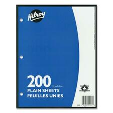 "Hilroy Unruled Filler Paper - 200 Sheets - Plain - 10 7/8"" x 8 3/8"" - White Paper - 200 / Pack"