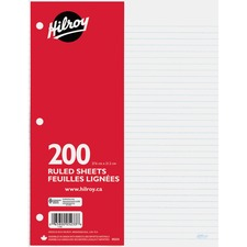 "Hilroy 7mm Ruled With Margin Filler Paper - 200 Sheets - 3-ring Binding - 24 lb Basis Weight - 10 7/8"" x 8 3/8"" - White Paper - Hole-punched, Heavyweight, Tear Resistant - 200 / Pack"