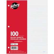 "Hilroy 7mm Ruled With Margin Filler Paper - 100 Sheets - 3-ring Binding - 24 lb Basis Weight - 10 7/8"" x 8 3/8"" - White Paper - Hole-punched, Heavyweight, Tear Resistant - 100 / Pack"
