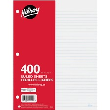 "Hilroy 7mm Ruled With Margin Filler Paper - 400 Sheets - 3-ring Binding - 24 lb Basis Weight - 10 7/8"" x 8 3/8"" - White Paper - Hole-punched, Heavyweight, Tear Resistant - 400 / Pack"