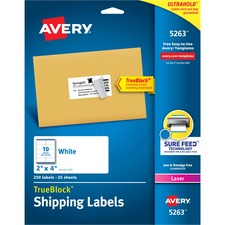 """Avery® TrueBlock(R) Shipping Labels, Sure Feed(TM) Technology, Permanent Adhesive, 2"""" x 4"""" , 250 Labels (5263) - 2"""" Height x 4"""" Width - Permanent Adhesive - Rectangle - Laser - Bright White - Paper - 10 / Sheet - 25 Total Sheets - 250 Total Label(s) - 250 / Pack"""