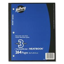 """Hilroy Neatbooks Three Subject Notebook - 264 Sheets - 0.28"""" Ruled - Ruled - 8"""" x 10 1/2"""" - Assorted Paper - Perforated, Removable, Hole-punched - 1Each"""