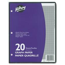 Hilroy One-Sided Metric Quad Ruled Filler Paper - 20 Sheets - White Paper - Heavyweight, Hole-punched - 20 / Pack
