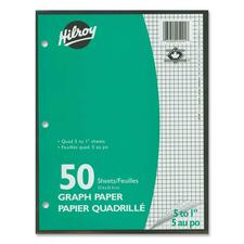 """Hilroy 5:1"""" Two-Sided Quad Ruled Filler Paper - 50 Sheets - 10 7/8"""" x 8 3/8"""" - White Paper - Heavyweight, Hole-punched - 50 / Pack"""