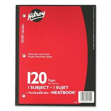 """Hilroy Neatbooks One Subject Notebook - 120 Sheets - 0.28"""" Ruled - Ruled - 8"""" x 10 1/2"""" - Assorted Paper - Perforated, Removable, Hole-punched - 1Each"""