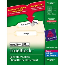 "Avery® File Folder Label - Removable Adhesive - 21/32"" Width x 3 7/16"" Length - Rectangle - Inkjet - White - 1500 / Box"