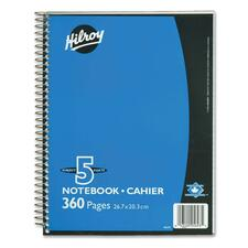 "Hilroy Executive Coil Five Subject Notebook - 360 Sheets - Wire Bound - 0.28"" Ruled - 8"" x 10 1/2"" - Assorted Cover - Subject - 1Each"