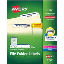 "Avery® TrueBlock(R) File Folder Labels, Sure Feed(TM) Technology, Permanent Adhesive, Blue, 2/3"" x 3-7/16"" , 1,500 Labels (5766) - 2/3"" Height x 3 7/16"" Width - Permanent Adhesive - Rectangle - Laser, Inkjet - Blue - Paper - 30 / Sheet - 50 Total Sheets - 1500 Total Label(s) - 600 / Pack"
