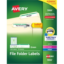 "Avery® TrueBlock(R) File Folder Labels, Sure Feed(TM) Technology, Permanent Adhesive, Green, 2/3"" x 3-7/16"" , 1,500 Labels (5866) - 2/3"" Height x 3 7/16"" Width - Permanent Adhesive - Rectangle - Laser, Inkjet - Green - Paper - 30 / Sheet - 50 Total Sheets - 1500 Total Label(s) - 600 / Pack"