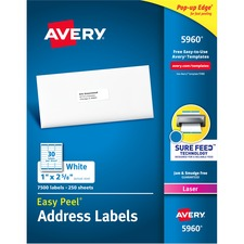 """Avery® Easy Peel(R) Address Labels, Sure Feed(TM) Technology, Permanent Adhesive, 1"""" x 2-5/8"""" , 7,500 Labels (5960) - 1"""" Height x 2 5/8"""" Width - Permanent Adhesive - Rectangle - Laser - Bright White - Paper - 30 / Sheet - 250 Total Sheets - 7500 Total Label(s) - 7500 / Box"""