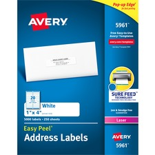 """Avery® Easy Peel(R) Address Labels, Sure Feed(TM) Technology, Permanent Adhesive, 1"""" x 4"""" , 5,000 Labels (5961) - 1"""" Height x 4"""" Width - Permanent Adhesive - Rectangle - Laser - Bright White - Paper - 20 / Sheet - 250 Total Sheets - 5000 Total Label(s) - 5000 / Box"""