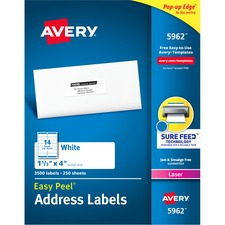 "Avery® Easy Peel(R) Address Labels, Sure Feed(TM) Technology, Permanent Adhesive, 1-1/3"" x 4"" , 3,500 Labels (5962) - 1 21/64"" Height x 4"" Width - Permanent Adhesive - Rectangle - Laser - Bright White - Paper - 14 / Sheet - 250 Total Sheets - 3500 Total Label(s) - 3500 / Box"