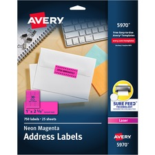 """Avery® Neon Address Labels with Sure Feed(TM) for Laser Printers, 1"""" x 2 5/8"""" , 750 Pink Labels (5970) - 1"""" Height x 2 5/8"""" Width - Permanent Adhesive - Rectangle - Laser - Neon Pink - Paper - 30 / Sheet - 25 Total Sheets - 750 Total Label(s) - 750 / Pack"""