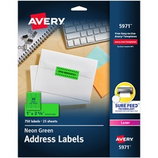 """Avery® Neon Address Labels with Sure Feed(TM) for Laser Printers, 1"""" x 2 5/8"""" , 750 Green Labels (5971) - 1"""" Height x 2 5/8"""" Width - Permanent Adhesive - Rectangle - Laser - Neon Green - Paper - 30 / Sheet - 25 Total Sheets - 750 Total Label(s) - 750 / Pack"""