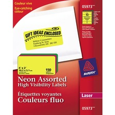 """Avery® Laser Label - 2"""" x 4"""" Length - Rectangle - Laser - Assorted - 150 / Pack"""