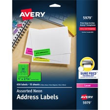 """Avery® Neon Address Labels with Sure Feed(TM) for Laser Printers, 1 x 2 5/8"""" , Assorted Colors, 450 Labels (5979) - 1"""" Height x 2 5/8"""" Width - Permanent Adhesive - Rectangle - Laser - Neon Magenta, Neon Green, Neon Yellow - Paper - 30 / Sheet - 15 Total Sheets - 450 Total Label(s) - 450 / Pack"""