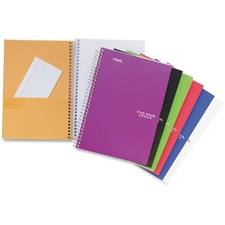 "Hilroy Two Subject Notebook - 100 Sheets - Wire Bound - 6"" x 9 1/2"" - Assorted Paper - Poly Cover - Subject, Spiral Lock, Pocket Divider, Perforated, Durable Cover, Easy Tear - 1Each"