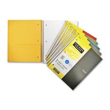 """Hilroy One Subject Notebook - 200 Sheets - Wire Bound - 8 1/2"""" x 11"""" - Assorted Paper - Poly Cover - Subject, Spiral Lock, Pocket Divider, Perforated, Durable Cover, Tear Resistant - 1Each"""