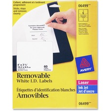"""Avery® Laser Label - Removable Adhesive - 4"""" Width x 3 1/3"""" Length - Rectangle - Laser - White - 60 / Pack"""