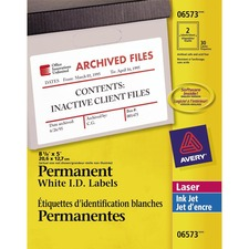 "Avery® Identification Label - Permanent Adhesive - 8 1/8"" Width x 5"" Length - Rectangle - Laser, Inkjet - White - 2 / Sheet - 30 / Pack"