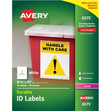 """Avery® Durable ID Labels, Permanent Adhesive, 8-1/2"""" x 11"""" , Matte White, 50 Labels (6575) - 8 1/2"""" Height x 11"""" Width - Permanent Adhesive - Rectangle - Laser - White - Film - 1 / Sheet - 50 Total Sheets - 50 Total Label(s) - 50 / Pack"""