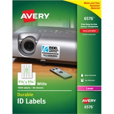 """Avery® Durable ID Labels, Permanent Adhesive, 1-1/4"""" x 1-3/4"""" , 1,600 Labels (6576) - 1 3/4"""" Height x 1 1/4"""" Width - Permanent Adhesive - Rectangle - Laser - White - Film, Polyester - 32 / Sheet - 50 Total Sheets - 1600 Total Label(s) - 1600 / Pack"""