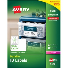 """Avery® Durable ID Labels, Permanent Adhesive, 2"""" x 2-5/8"""" , 750 Labels (6578) - 2"""" Height x 2 5/8"""" Width - Permanent Adhesive - Rectangle - Laser - White - Film, Polyester - 15 / Sheet - 50 Total Sheets - 750 Total Label(s) - 750 / Pack"""