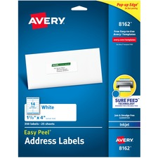 "Avery® Easy Peel(R) Address Labels, Sure Feed(TM) Technology, Permanent Adhesive, 1-1/3"" x 4"" , 350 Labels (8162) - 1 21/64"" Height x 4"" Width - Permanent Adhesive - Rectangle - Inkjet - Bright White - Paper - 14 / Sheet - 25 Total Sheets - 350 Total Label(s) - 350 / Pack"