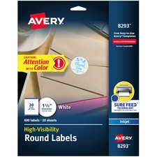 """Avery® High Visibility Round Labels with Sure Feed(TM) for Inkjet Printers, 1-1/2"""" , 400 Labels (8293) - 1 1/2"""" Diameter - Permanent Adhesive - Round - Inkjet - White - Paper - 20 / Sheet - 20 Total Sheets - 400 Total Label(s) - 400 / Pack"""