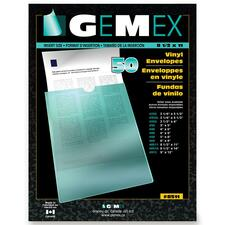 "Gemex Clear Vinyl Envelopes - Letter - 8 1/2"" x 4 1/3"" Sheet Size - Vinyl - Clear - 50 / Pack"