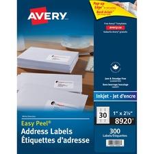 "Avery® Mailing Label - 2 5/8"" x 1"" Length - Permanent Adhesive - Rectangle - Inkjet - White - 30 / Sheet - 300 / Pack"