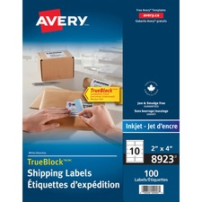 """Avery® Mailing Label - 4"""" x 2"""" Length - Permanent Adhesive - Rectangle - Inkjet - White - 100 / Pack"""