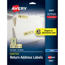 """Avery® Foil Mailing Labels, Gold, 3/4"""" x 2-1/4"""" , 300 Labels (8987) - 3/4"""" Height x 2 1/4"""" Width - Permanent Adhesive - Rectangle - Inkjet - Gold - Paper, Foil - 30 / Sheet - 10 Total Sheets - 300 Total Label(s) - 300 / Pack"""