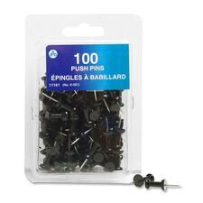 "Acme United Plastic Head Push Pin - 0.25"" (6.35 mm) Diameter - 100 / Pack - Black - Plastic, Steel"