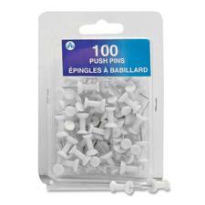 "Acme United Plastic Head Push Pin - 0.25"" (6.35 mm) Diameter - 100 / Pack - White - Plastic, Steel"