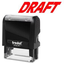 """Trodat Self Inking Stamp - Message Stamp - """"DRAFT"""" - Red - 1 Each"""