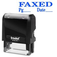 """Trodat Self Inking Stamp - Message/Date & Time Stamp - """"FAXED"""" - Blue - 1 Each"""