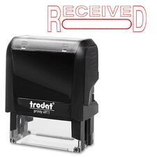 "Trodat Self Inking Stamp - Message/Date Stamp - ""RECEIVED"" - Red - 1 Each"