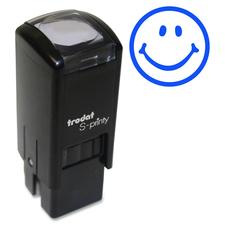 "Trodat Self Inking Stamp - Design Stamp - ""Smiling Face"" - Blue - 1 Each"