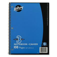 "Hilroy Coil Three Subject Book - 108 Sheets - Wire Bound - 0.28"" Ruled - Ruled - 8"" x 10 1/2"" - Subject - 1Each"